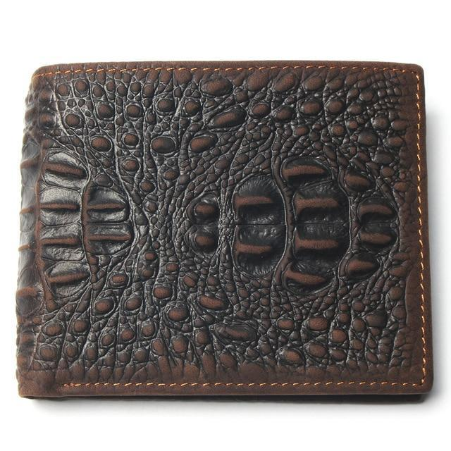 Cow Leather Crocodile Pattern Card Holder Style Short Wallets