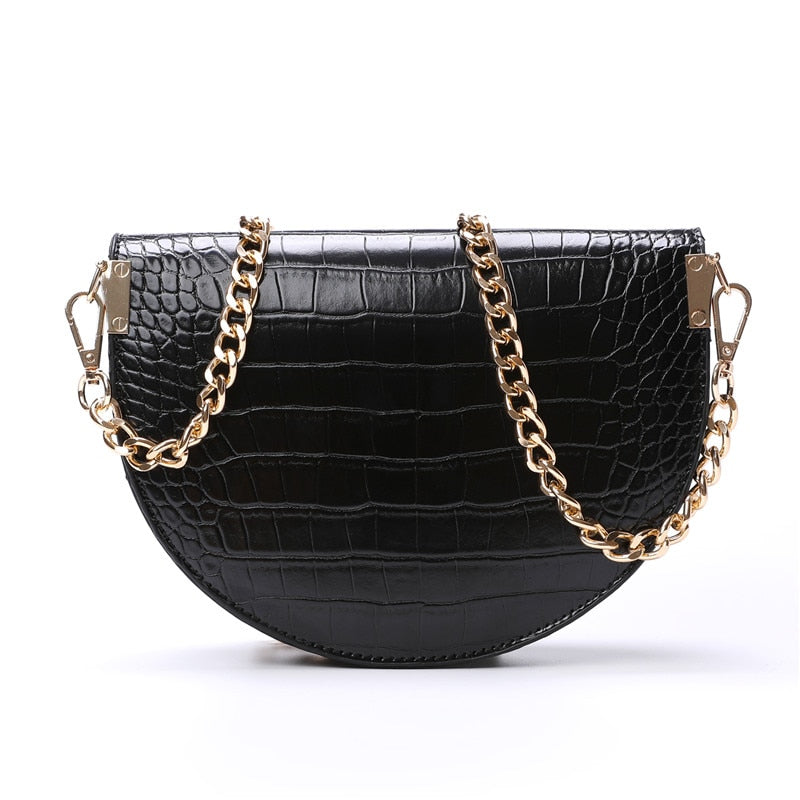Alligator Pattern PU Leather Vintage Small Chains Saddle Crossbody Bags