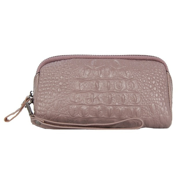 Croc-Embossed Pattern Cow Leather Zipper Closure Small Wallets