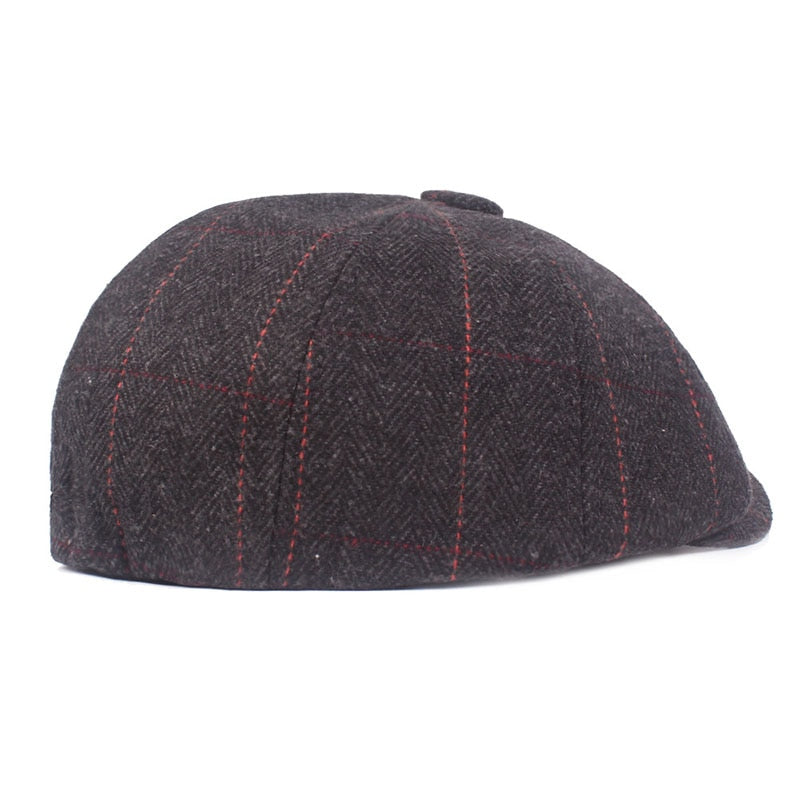Casual Middle-Aged Style Woolen Octagonal Exotic Plaid Beret hats