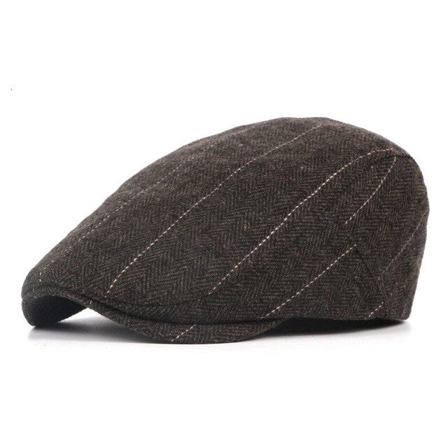 Autumn And Winter Exotic British Style Classic Striped Woolen Beret Hats