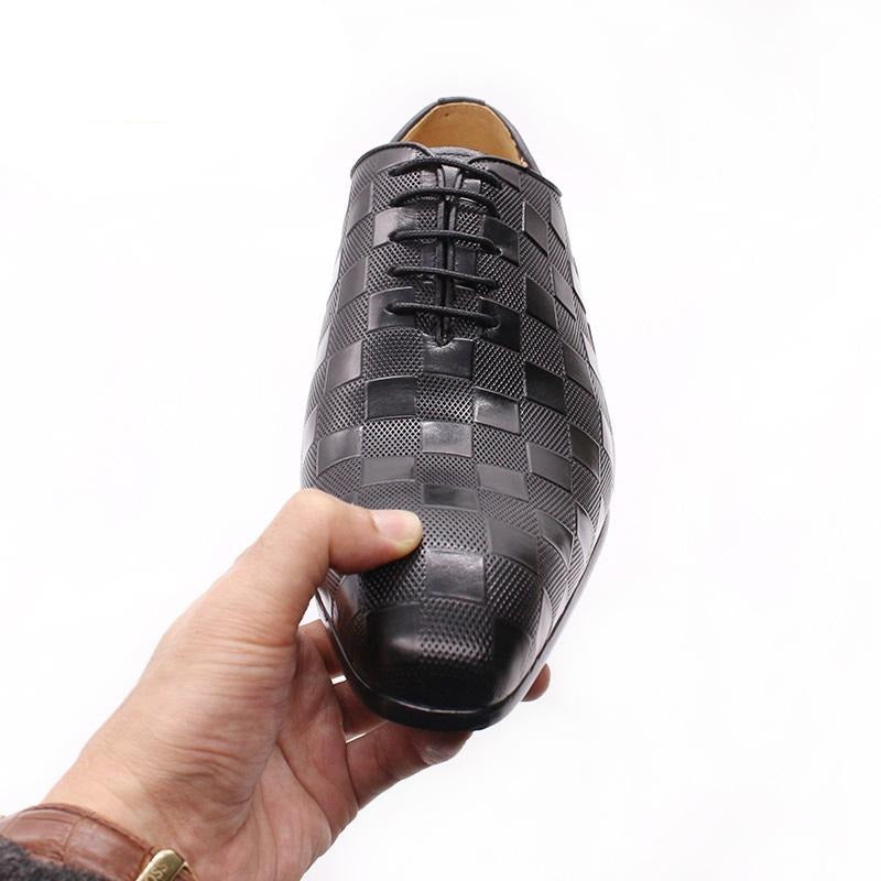 Formal Italian Handmade Exotic Plaid Prints Lace-Up Oxford Dress Shoes