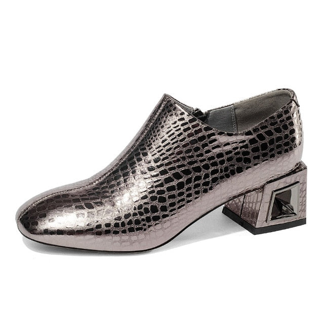 Embossed Leather Square Toe Slip-On Exotic Cuban Heel Boots