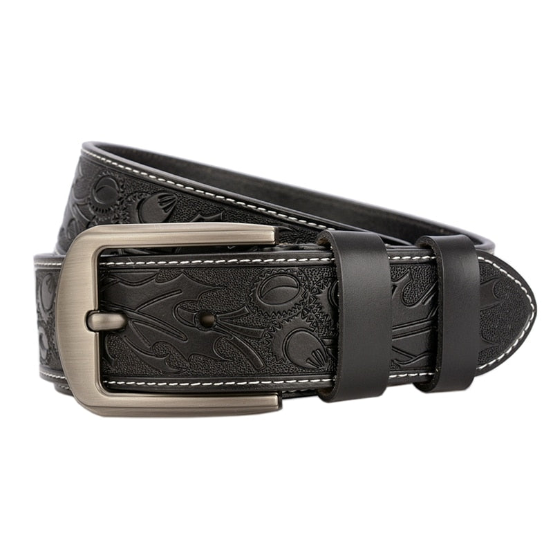 Exotic Embossed Floral Pattern Genuine Cow Leather Belt