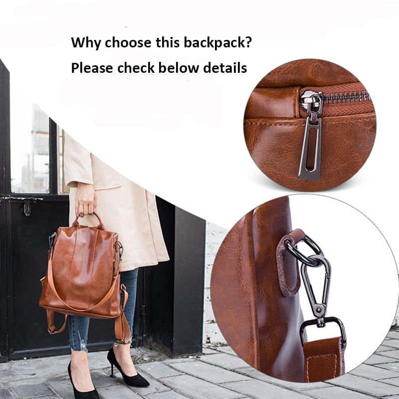 Exotic Pattern Leather Soft Handle Anti Theft Laptop Softback Backpack