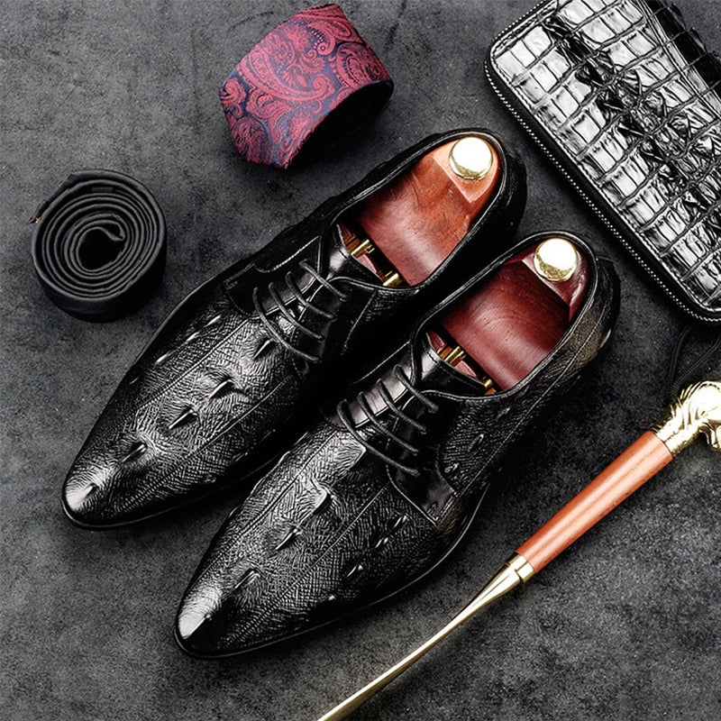 Exotic Croco Texture Leather Italian Fashion Lace-Up Oxford Dress Shoes