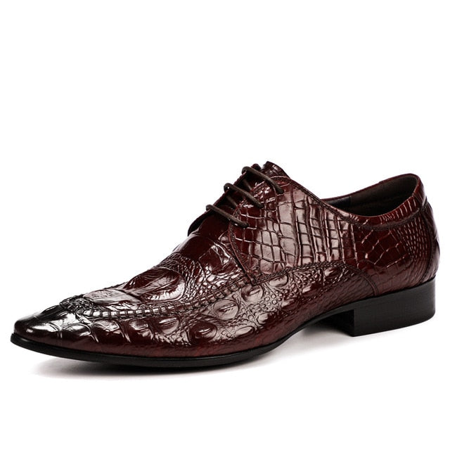 Full Grain Leather Exotic Pattern Lace-Up Oxford Dress Shoes
