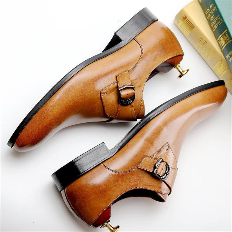 Exotic Pointed Toe Leather Buckle Strap Slip-on Dress Shoes