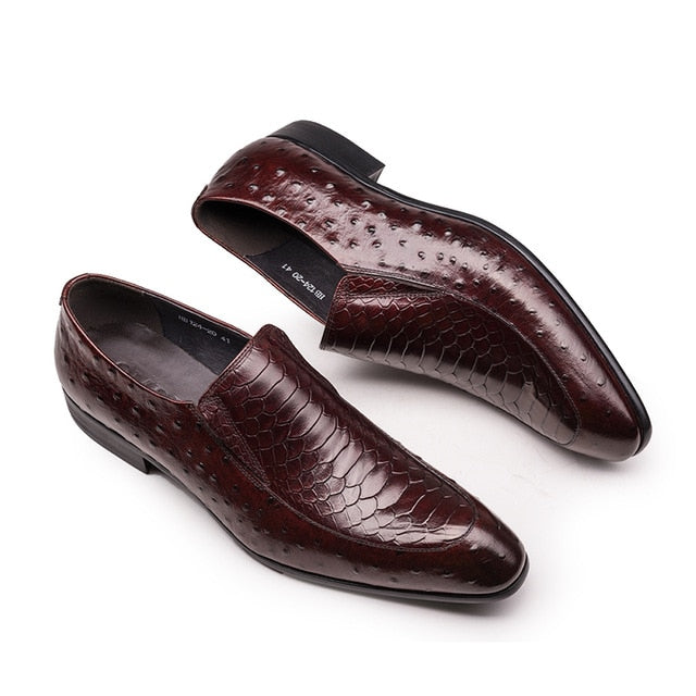 Glossy Croc Pattern Slip-On Leather Square Toe Brogue Dress Shoes