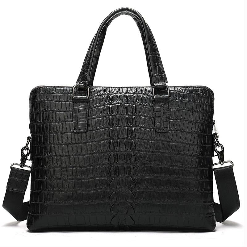 Business Style Embossed Croc Pattern Leather Briefcase Bag