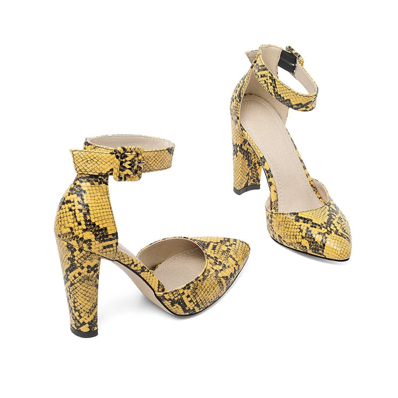 Snakeskin Print Ankle Strap Buckle Stiletto Pointed High Thin Heels Sandals