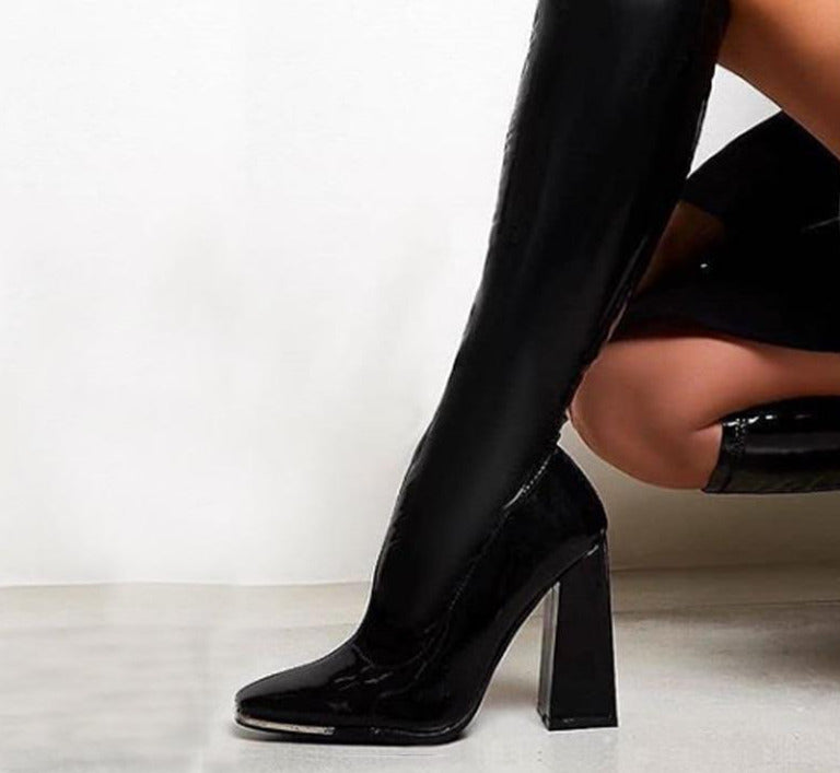 Exotic Fashion Metal Decorated Square Heel Knee High Boots