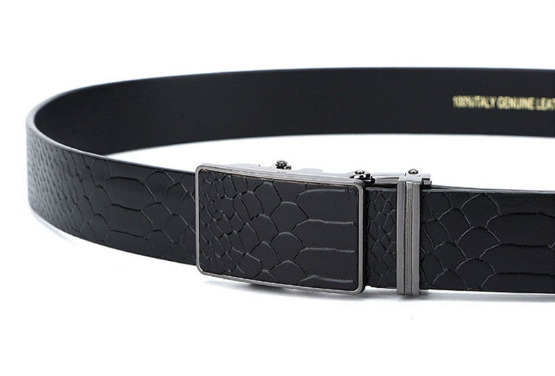 Crocodile Pattern Cowhide Leather Automatic Metal Buckle Ratchet Belt