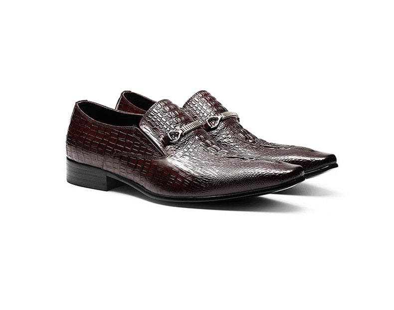 Leather Exotic Textured Pointed Slip-On Wedding Brogue Dress Shoes