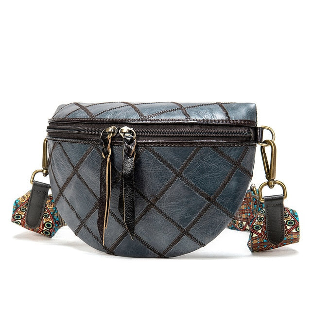 Exotic Patchwork Soft Leather Flap Messenger Clutch Bag