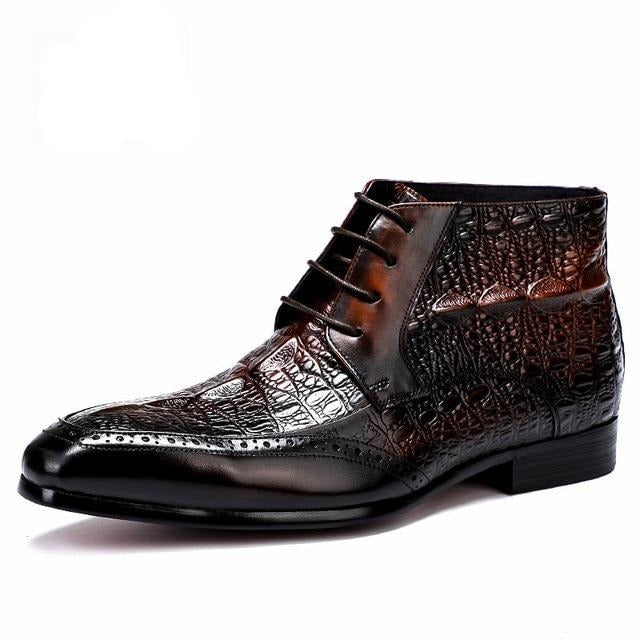 Genuine Cow Leather Lace-Up Exotic Croco Pattern Ankle Boots