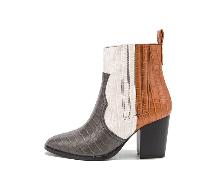 Mixed Colors Vegan Leather Snakeskin Texture Slip-On Ankle Boots