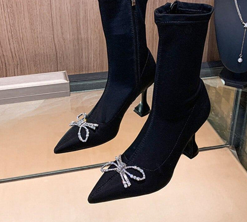 Stretch Lycra Pointed Toe High  Heeled Zipper Ankle Boots