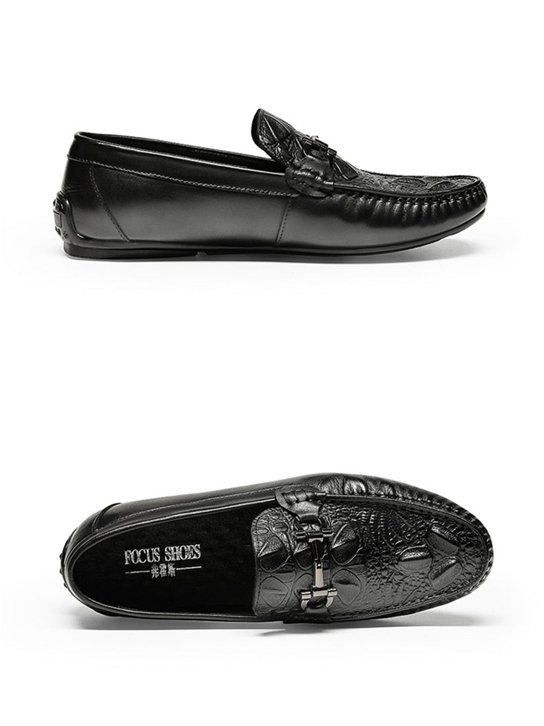 Croc Texture Leather Summer Casual Waterproof Slip On Loafers
