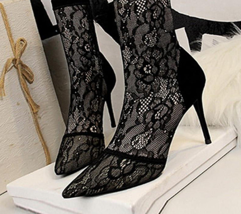 Exotic Lace Stretch Fabric High Heel Pointed Toe Ankle Boots