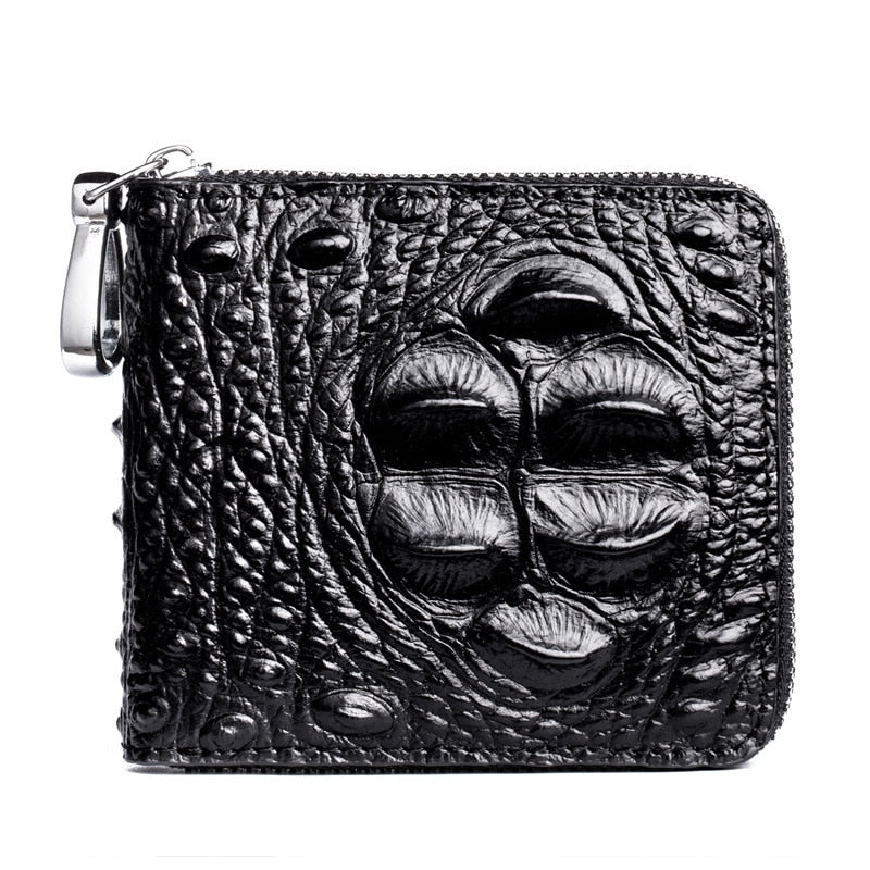 Embossed Gator Pattern PU Zipper Coin Card Holder Short Wallet