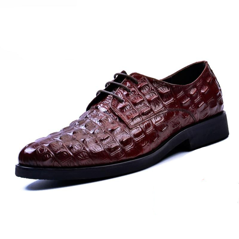 Classic Pointed Toe Crocodile Pattern Lace Up Leather Oxford Casual Shoes