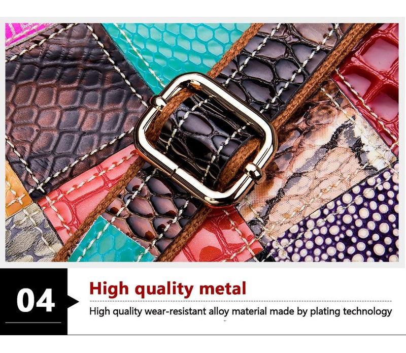 Exotic Patchwork Top Handle Zipper Leather Tote Shoulderbag