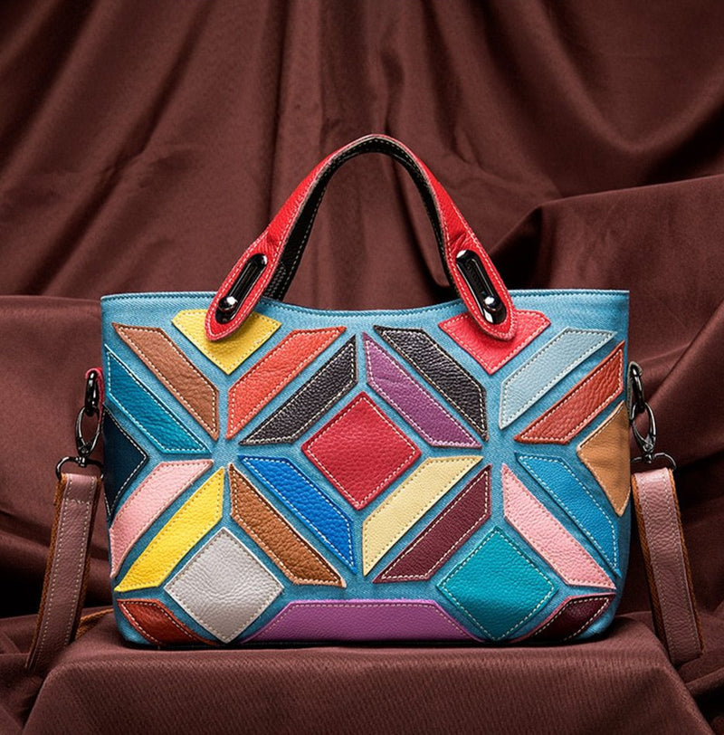 Exotic Colorful Patchworked Leather Tote Shoulderbag