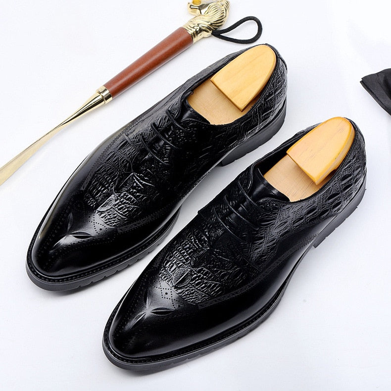 Croco Texture Leather Casual Business Pointed Lace-Up Dress Shoes