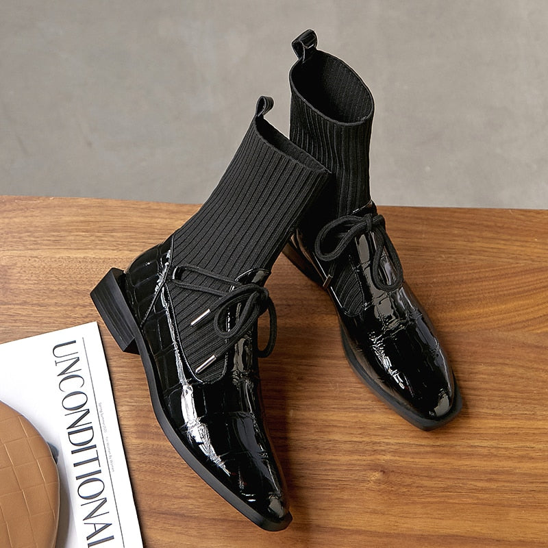 Designer Handmade Genuine leather Crocodile Pattern Ankle Sock Warm Oxford Boots