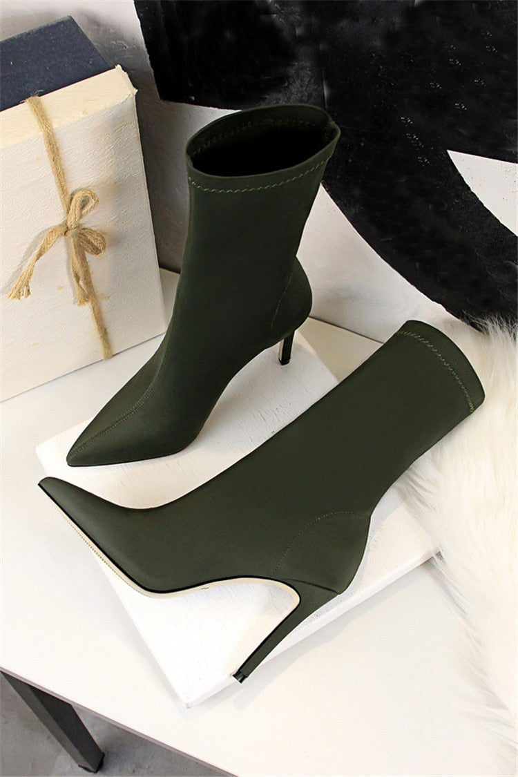 Winter Fashion Exotic Thin Heels Pointed Toe Elastic Chelsea Boots