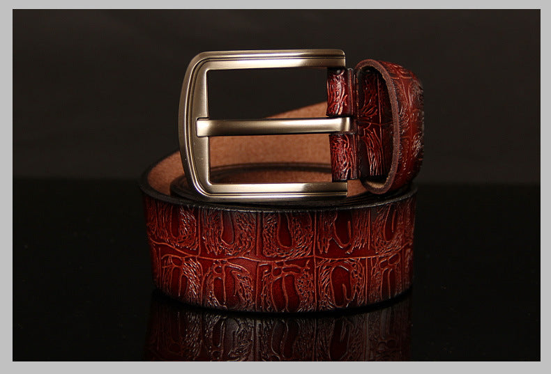 Luxury Pin Buckle Exotic Texture Leather Strap Designer Belt
