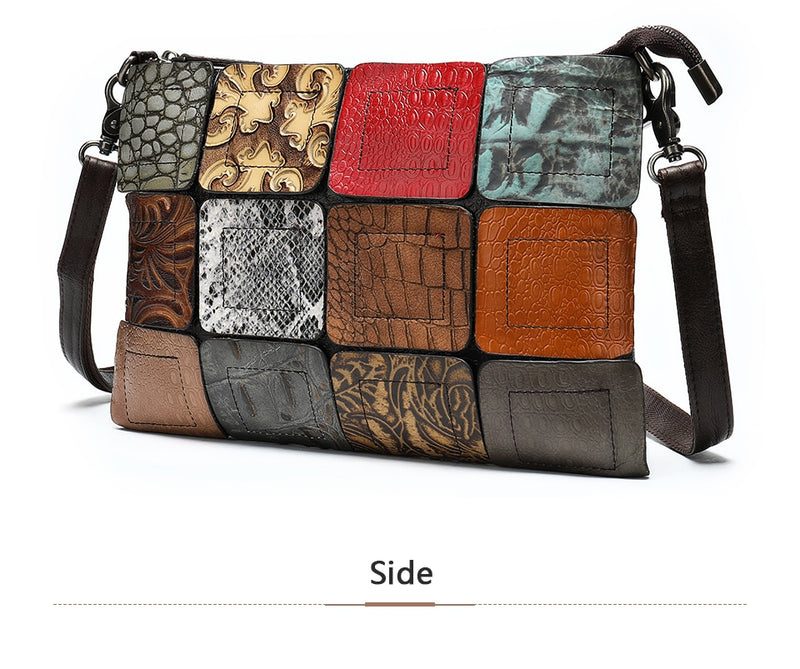 Exotic Patchwork Leather Zipper Crossbody Shoulderbag