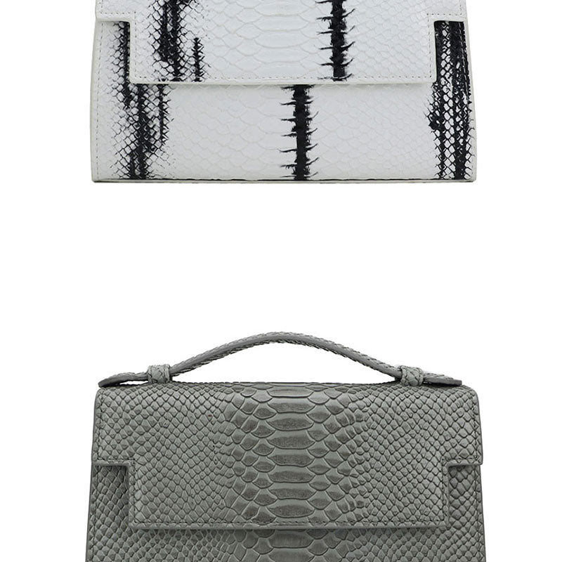 Solid Python Pattern Leather Flap Clutch Wallet