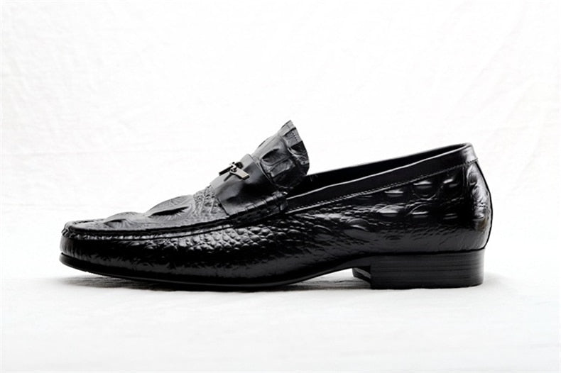Embossed Gator Pattern Slip-on Leather Waterproof Basic Loafers