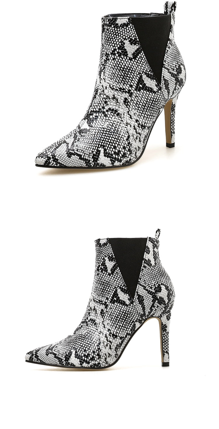 Snake Print Thin High Heels Pointed Toe Slip-On Ankle Boots