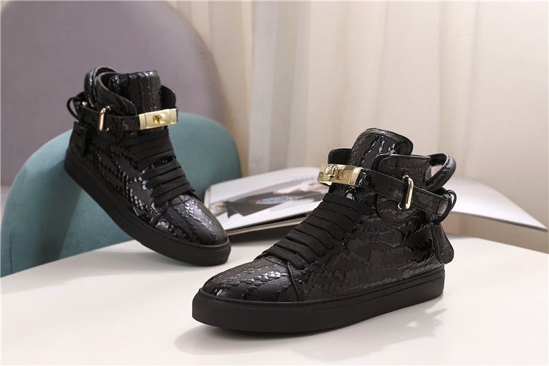 Men's Embossed Crocodile Pattern High Top Designer Flat Casual Shoes