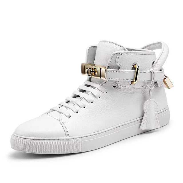 Men's Embossed Smooth Pattern High Top Designer Flat Casual Shoes