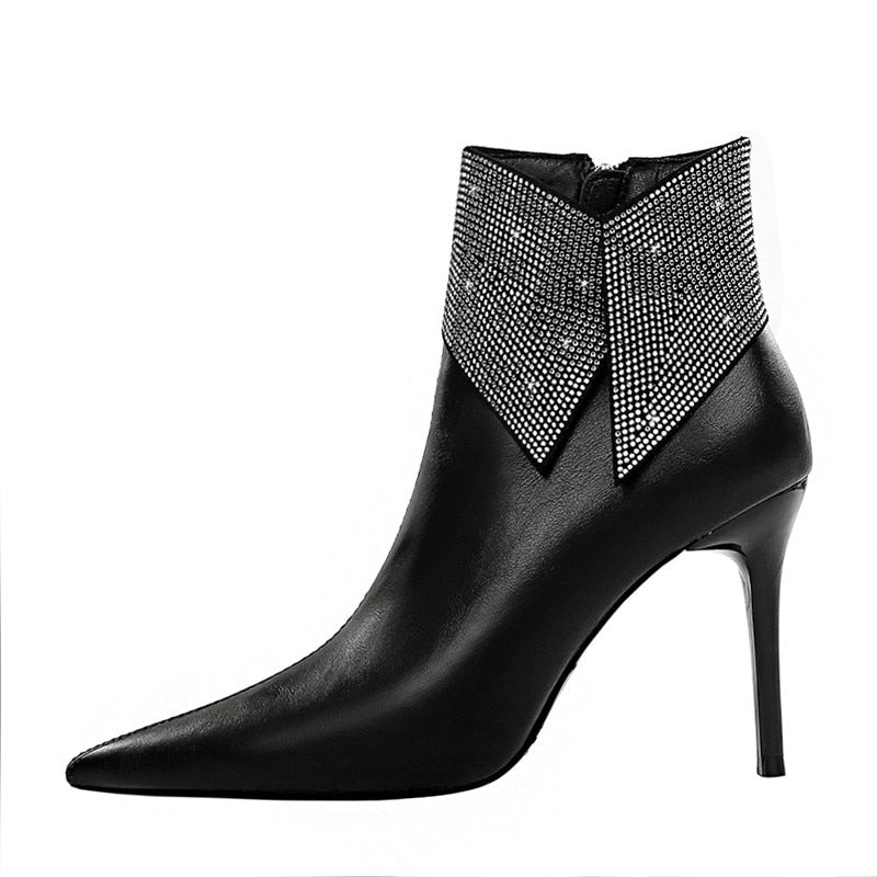 Star Crystal Rhinestone Exotic Vegan Leather Pointed Toe Ankle Booties