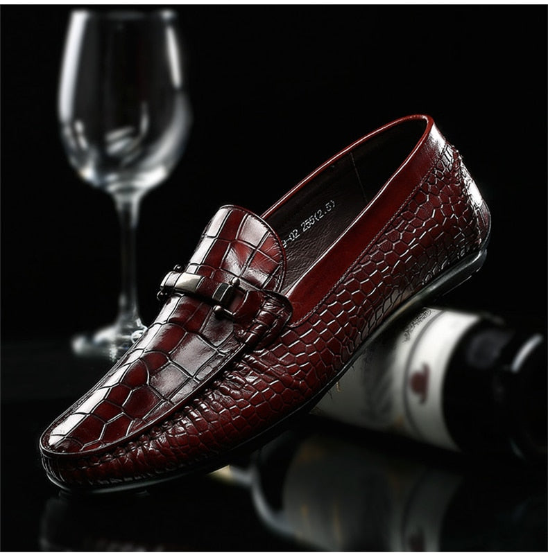 Exotic Texture Summer Casual Leather Slip-On Loafers