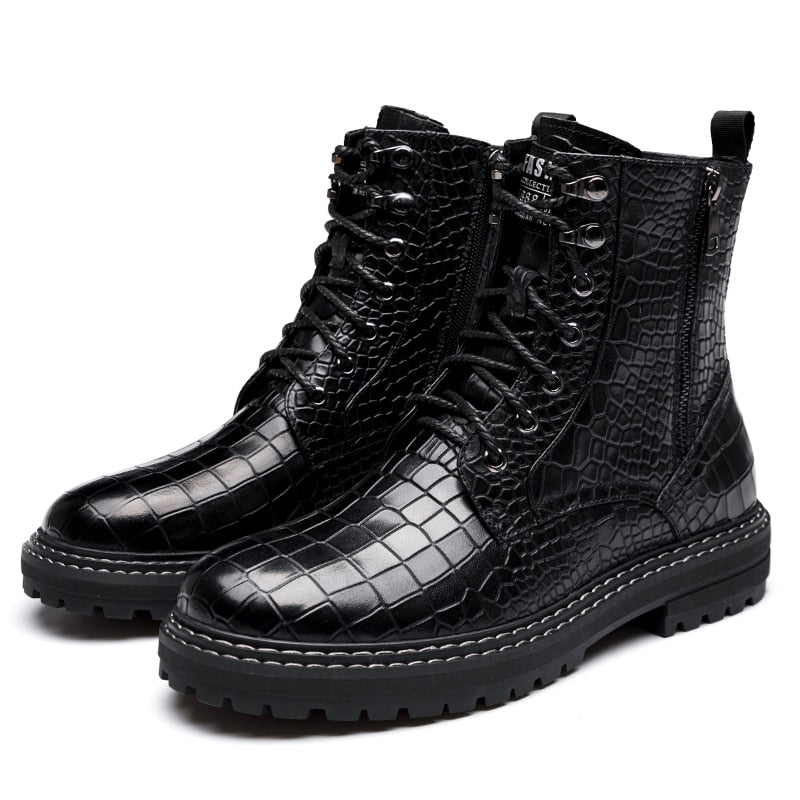 Casual Cow Leather Lace Up Flat Platform Motorcycle Boots