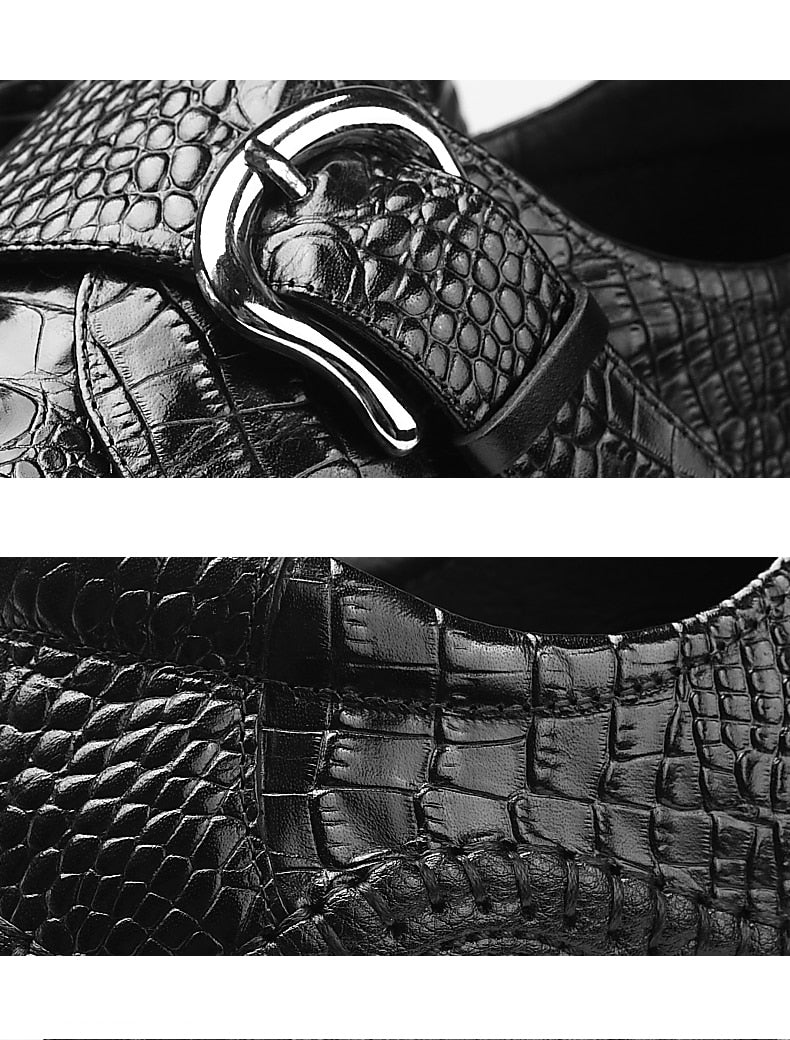 Exotic Leather Crocodile Texture Buckle Basic Casual Shoes