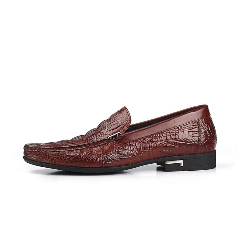 Exotic Alligator Texture Leather Slip-On Casual Loafers