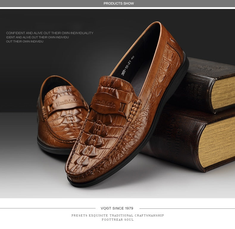 Leather Alligator Texture Casual Waterproof Breathable Slip-On Loafers