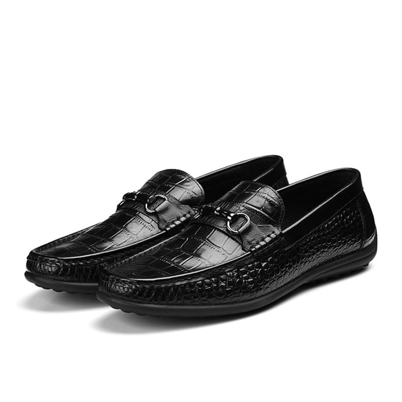 Cow Leather Alligator Texture Slip-On Breathable Casual Loafers