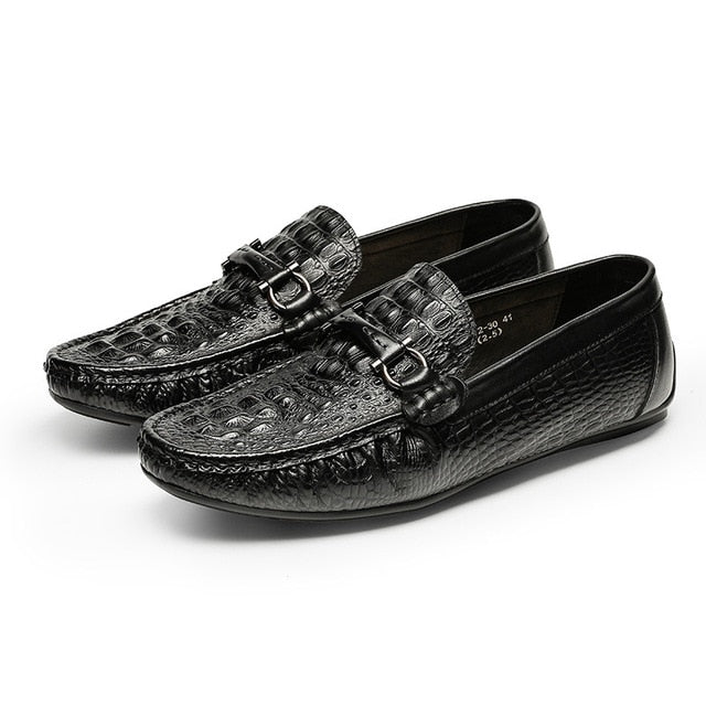 Exotic Crocodile Texture Leather Slip-on Breathable Waterproof Loafers