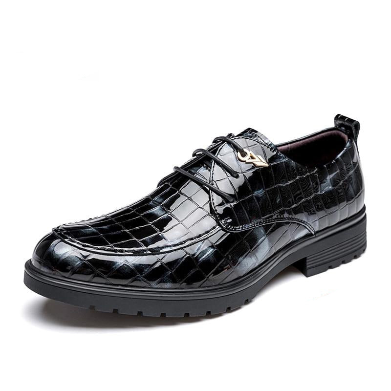 Pointed Toe Glossy Crocodile Pattern Leather Lace-up Oxford Casual Shoes