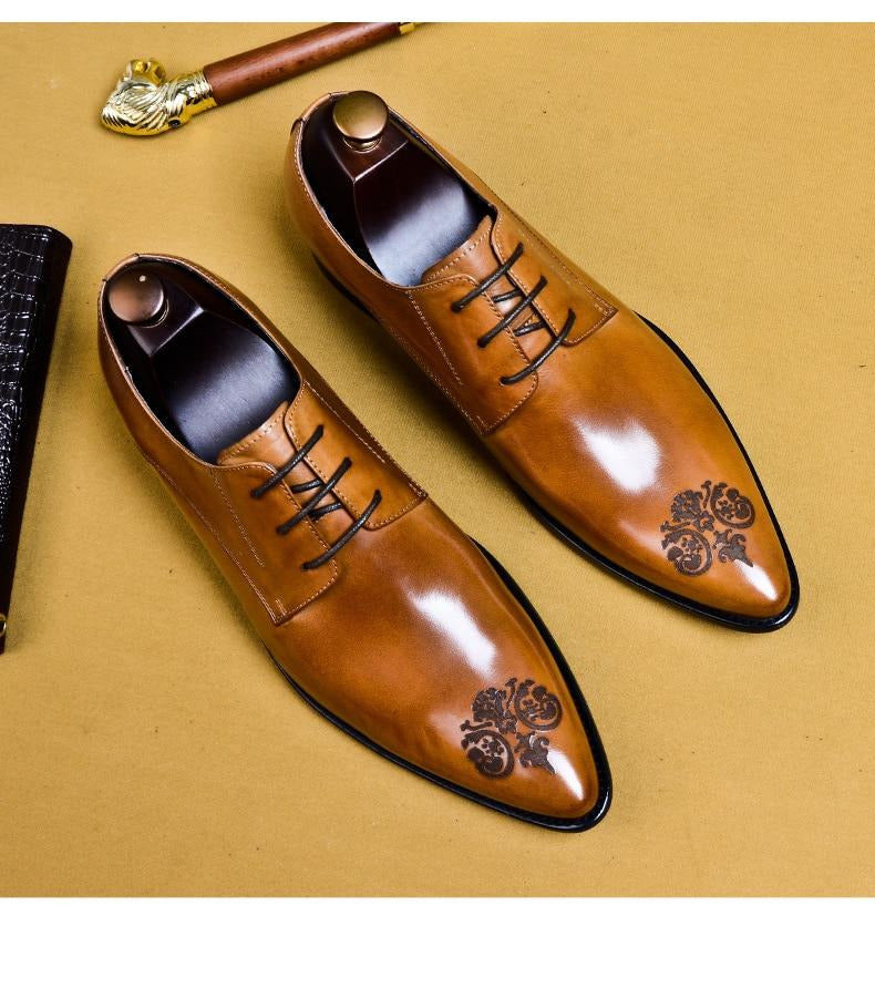 Round Toe Solid Pattern Lace Up Leather Oxford Dress Shoes