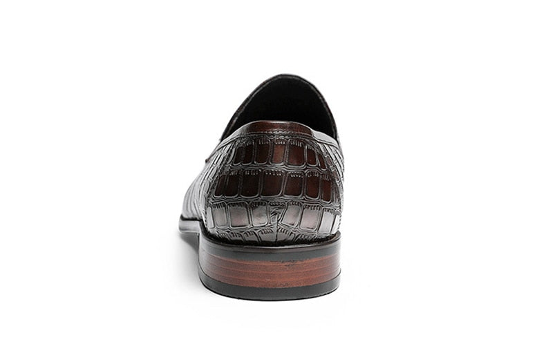 Formal Fashion Crocodile Pattern Leather Slip-On Dress Loafers
