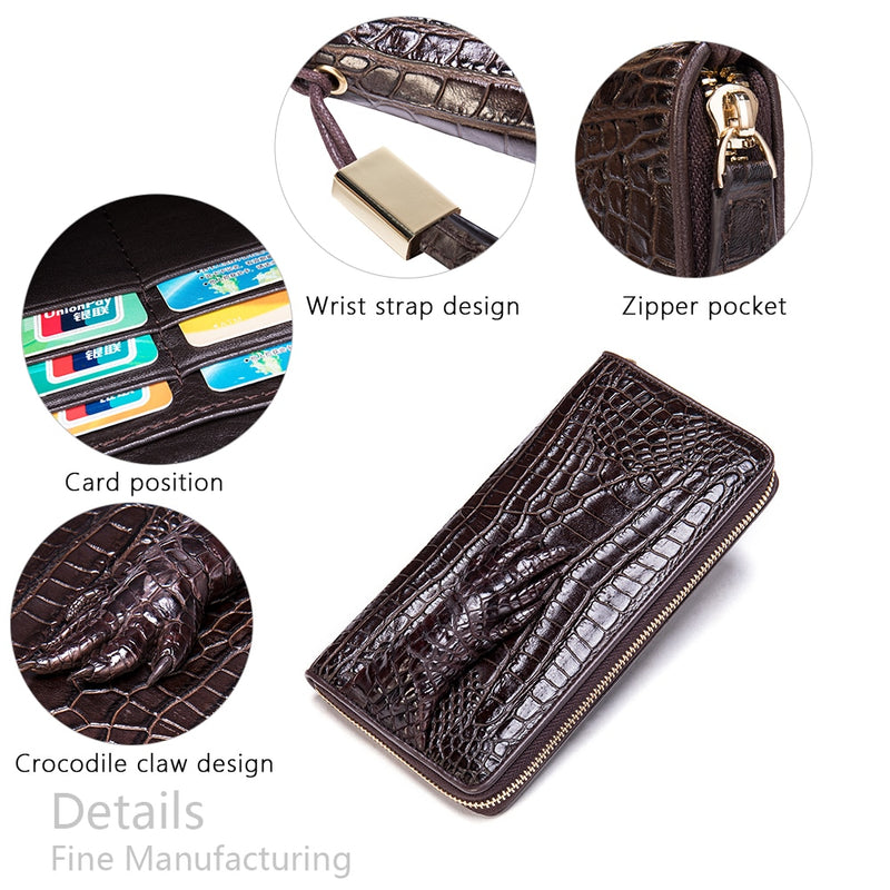 Luxury Vintage Style Croco Texture Leather Long Wrist Wallet
